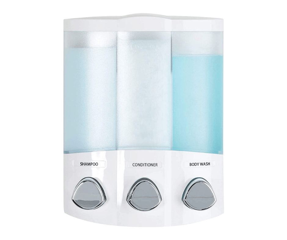 Better-Living-Products-White-76354-Euro-Series-TRIO-3-Chamber-Soap-and-Shower-Dispenser