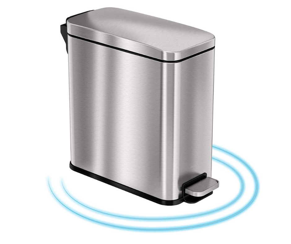 iTouchless SoftStep 3 Gallon Small Bathroom Slim Step Trash Can